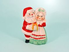 Vintage Santa and Mrs Claus Figural Christmas Bell Decoration Decor