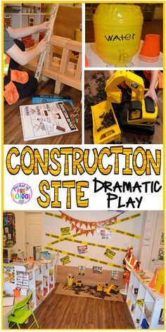 Site Dramatic Play How to create a Construction Site in the dramatic play perfect for preschool, pre-k, and kindergarten.How to create a Construction Site in the dramatic play perfect for preschool, pre-k, and kindergarten. Dramatic Play Themes, Dramatic Play Area, Dramatic Play Centers, Preschool Dramatic Play, Camping Dramatic Play, Construction Theme Preschool, Construction Crafts, Construction Business, Construction Logo