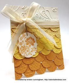 """Stamp Set: Fresh Vintage (Sale-A-Bration)  Paper: Very Vanilla, So Saffon, Daffodil Delight, More Mustard  Ink: More Mustard  Cool Tools: Framelits Labels Collection, Big Shot Die-Cutting Machine, a mix of Stampin' Up! Textured Impressions Embossing Folders, 1"""" Circle Punch  The Perfect Touch: Pearls Basic Jewels, Hemp Twine"""
