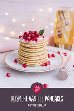 Reismehl-Vanille Pancakes mit Reissirup Vanilla Pancakes, Rice Flour, Syrup, Food And Drink, Healthy Recipes, Snacks, Meals, Breakfast, Doctors