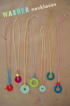 kids and teens make necklaces from steel washers and nail polish