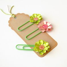 3 Handmade FLORAL PAPER CLIPS  Bookmarks Office by photomamaregina, $2.50