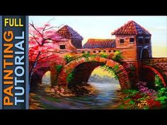 Acrylic Painting Lesson Classic Bridge with Cherry Blossom   ACRYLIC PAINTING TUTORIAL FOR BEGINNERS - YouTube