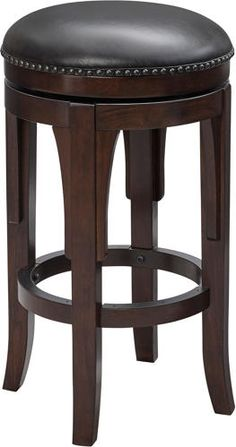 Round, swivel bar stools with cushioned seats and nail head trim.