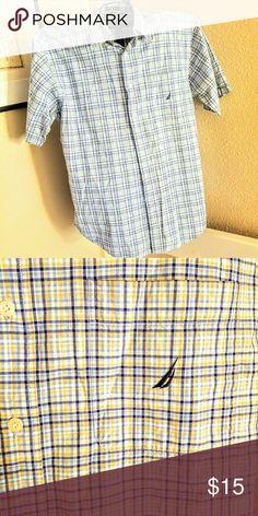 Nautica Button Down XL 100% Cotton, EUC, Short sleeved, light blue with navy and tan stripe Nautica Shirts