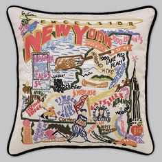 New York hand-stitched pillow from the Geography Collection