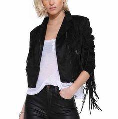 Splice fringe jacket coat for women plain black deerskin jackets short