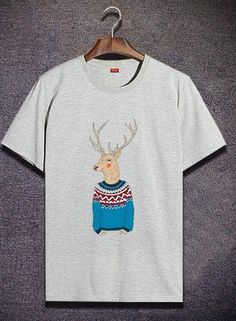 Deer Summer New Fashion Personalized Cotton Tee shirt Men's Top T-shirt Gray   Clothing, Shoes & Accessories, Men's Clothing, T-Shirts   eBay!