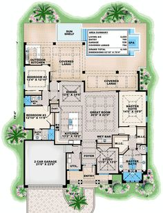 Dramatic Florida House Plan - 66363WE | Beach, Florida, Modern, Luxury, 1st Floor Master Suite, Butler Walk-in Pantry, Den-Office-Library-Study, Split Bedrooms | Architectural Designs