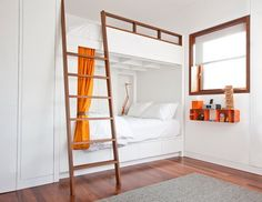 White Bunk Beds with Wood Stairs and Cool Decoration in Kids Bedroom Decorating Ideas