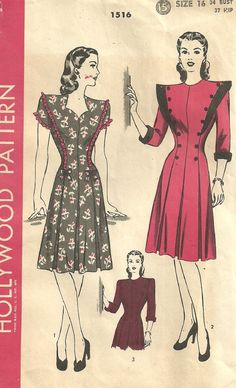 This is a vintage sewing pattern from Hollywood Company. It was designed in 1945. It makes a dress with a sweetheart neckline or a high neckline