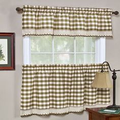 Buffalo Check Taupe 58 x 24-Inch Window Tier Pair