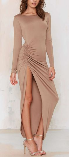 Nude maxi dress - love this with a leather jacket