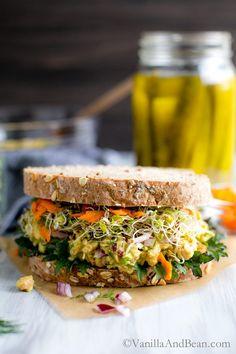 Smashed Chickpea Salad Sandwich | Vanilla And Bean Vegan Sandwich Filling, Vegan Sandwich Recipes, Sandwich Fillings, Healthy Sandwiches, Delicious Sandwiches, Vegetarian Recipes, Healthy Recipes, Chickpea Recipes, Chickpea Salad Sandwich