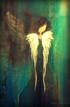 Abstract angel on canvas. She was painted on a practice canvas during a little experimenting I was doing on angel wings...reminded me of a friend of mine, so I kept her and made a few prints for my friend as well.
