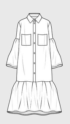 Trendy dress pattern drawing inspiration Source by fashion drawing Fashion Flats, Look Fashion, Fashion Art, Fashion Outfits, Arab Fashion, Fashion Pattern, Sewing Shirts, Fashion Templates, Dress Drawing