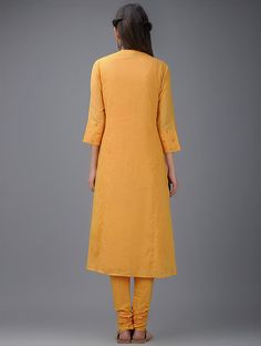 Mustard Hand Embroidered Cotton Mul Kurta with Slip (Set of Women Kurtas Kareena Kapoor Khan, Mustard, Cold Shoulder Dress, High Neck Dress, Dresses For Work, Slip On, Lady, Cotton, How To Wear