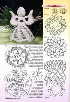 I use always little styrofoam ball inside the crocheted head.DIY - zrób to sam na Stylowi. Crochet Angel Pattern, Crochet Angels, Crochet Diagram, Crochet Motif, Diy Crochet, Crochet Doilies, Christmas Crochet Patterns, Crochet Christmas Ornaments, Holiday Crochet