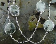 Roni Blanshay Grey Rutilated Quartz and Crystal Stations with Pyrite Bead Necklace