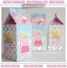 Peppa Pig Fairy Fairies Favor Box printable glitter by Printnfun, €4.00