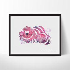 Cheshire Cat Alice in Wonderland Watercolor Art - VividEditions Arte Disney, Disney Art, Watercolor Disney, Watercolor Art, Cheshire Cat Alice In Wonderland, Image 3d, Chesire Cat, Poster Prints, Art Prints