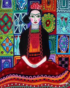 Talavera Tiles Mexican Folk Art Frida Kahlo Poster Painting Print Heather Galler