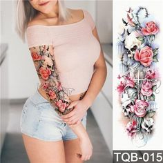 Large Arm sleeve Tattoo Waterproof temporary tattoo Sticker Skull Angel rose lotus Men Full Flower T Tattoos Arm Mann, Fake Tattoos, Arm Tattoos For Guys, Body Art Tattoos, Temporary Tattoos, Tattoos Pics, Henna Tattoos, Tattoo Images, Arm Tattoos For Skinny Arms