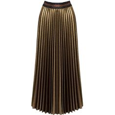 Sans Souci Gold metallic glitter pleated midi skirt ($39) ❤ liked on Polyvore featuring skirts, gold, midi skirt, calf length skirts, brown skirt, sans souci and metallic pleated skirt