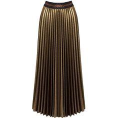 Sans Souci Gold metallic glitter pleated midi skirt (€36) ❤ liked on Polyvore featuring skirts, gold, mid calf skirts, metallic skirt, sans souci, pull on skirts and pleated midi skirt