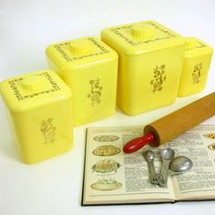 Lustro Ware Nesting Canister Set 50s / Retro Lemon Yellow Kitchen Flour, Sugar, Coffee and Tea Containers / Very Good Condition on Etsy, $54.00