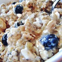 Oatmeal Cottage cheese blueberries seeds
