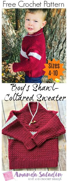 Crochet a warm and stylish sweater for a little boy in your life with the free crochet pattern for the Boy's Shawl-Collared Sweater in sizes 4-10