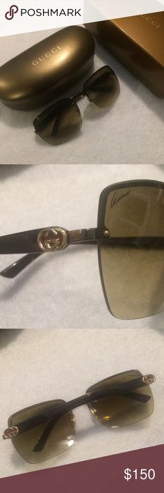 Gucci Sunglasses Authentic Gucci sunglasses. Brown gradient rimless lenses, tortoise plastic arms and adjustable nose pads. Small Gucci logo in both sides of the frames. Sunglasses are in good pre-owned condition and lenses do not have any noticeable large scratches. The outer rim shows gentle signs of wear. Case and box included. Gucci Accessories Sunglasses