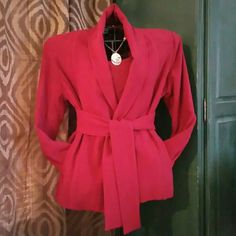 NWOT Jacket & Top set with Obi Sash Beautifully constructed quality Jersey Knit 2pc set never worn. Jacket features full shawl collar, side slit pockets and an obi sash. Top is long sleeved with scoop neckline. Wear easily with jeans, skirts or dress slacks.  Wash and wear. This is a beautiful, classy set. Dialogue QVC Jackets & Coats Blazers