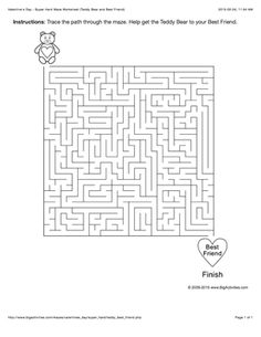 Valentine's Day maze worksheet with a teddy bear and heart. 4 levels of difficulty. Maze changes each time you visit
