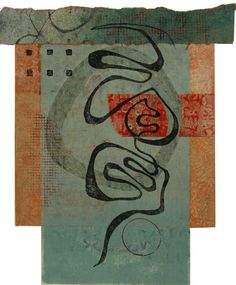 "Personal Path, by Anne Moore, monotype with chine colle, 11.5""X 9.5"""