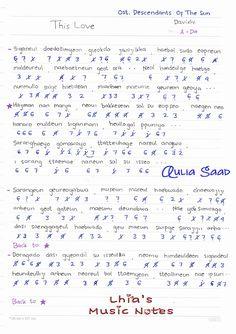 Not dasar lirik lagu : Davichi - This Love Piano – Pianika – Keyboard (Ost. Descendants Of The Sun) Davichi - This Love by : Auli. Kalimba, Descendants, Kdrama, Piano, Sheet Music, Sun, Love, Math, Music