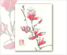 Watercolor Chinese Brush Painting 8 x 10 Print: por Vartus en Etsy