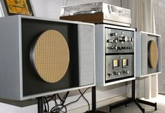 My, DIY stereo unit Sansui BA - CA 2000 and FR-1080 TT with three way speakers on swivel bases.