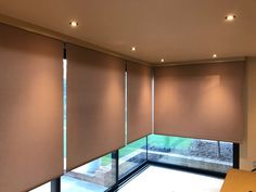 Do you need electric blinds for large glazed areas? then take a look at what Radiant Blinds Ltd can install for you, these blinds are 240v with a huge selection of fabric colours to choose from, remote control operation and all covered by a powder coated aluminium pelmet to finish off the whole installation to make them look like they should be there