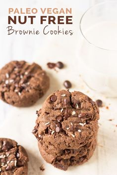 These vegan nut free brownie cookie recipe have a light crust/crunch on the outside but are soft, chewy and basically brownie-like on the inside. Plus, they're made with coconut flour and sunflower seed butter so they're gluten-free and paleo via @ExSloth   ExSloth.com