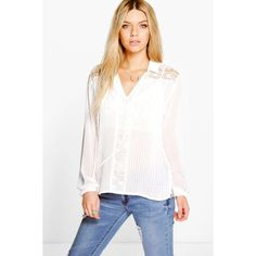 Boohoo Tanya Pleated Lace Panel Tie Neck Blouse ($30) ❤ liked on Polyvore featuring tops, blouses, cream, neck-tie, ribbed crop top, tie neck blouse, long sleeve tie neck blouse and long sleeve jersey