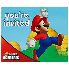 Super Mario Bros Party Supplies - Invitations (8) @ niftywarehouse.com #NiftyWarehouse #Mario #SuperMario #Nintendo #VideoGames #Gaming #MarioBrothers