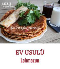 Ev Usulü Lahmacun – Leziz Yemeklerim – Kolay yemekler – The Most Practical and Easy Recipes Turkish Kitchen, Arabic Food, Cat Food, Pizza, Brunch, Food And Drink, Cooking, Breakfast, Ethnic Recipes