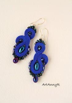 I like blue Macrame Earrings, Soutache Earrings, Drop Earrings, Ring Necklace, Like Me, Jewelery, Necklaces, Bracelets, Brooches