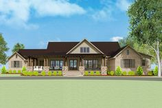 Plan Stunning 5 Bed New American House Plan With Game Room Ranch House Plans, Dream House Plans, Open Floor House Plans, Dream Houses, One Level House Plans, U Shaped House Plans, U Shaped Houses, One Level Homes, Master Suite
