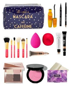 """""""What's in my travel makeup bag"""" by christyaphan ❤ liked on Polyvore featuring Tri-coastal Design, Bobbi Brown Cosmetics, beautyblender, Maybelline, Eos, Lord & Taylor, tarte, Urban Decay, too cool for school and MAKE UP FOR EVER"""