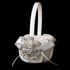 Flower Girl Basket 17 with Silver AB Crystal & Rhinestone Floral Brooch 8779