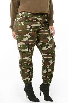 90ff1ef251383 Plus Size Camo Cargo Joggers Forever 21 Plus, Plus Size Pants, Camo Print,
