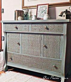 Embossed wallpaper on furniture